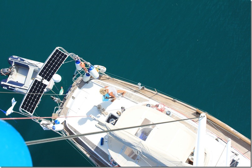 Zoe from the top of the mast